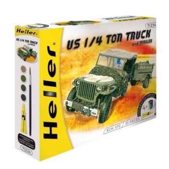 Maquette us 1/4 ton truck & trailer heller -49997
