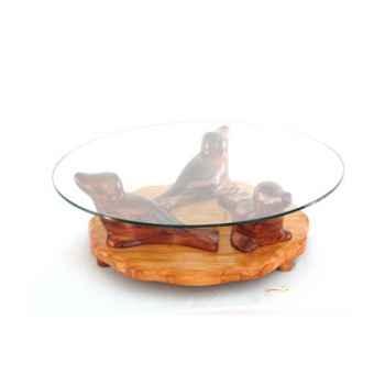 Table basse - Le trio de phoques en Pin - 90 cm x 40 cm - verre trempé, bord poli ép.1 cm - LAST-MPHO80-P - V900-10