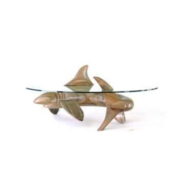 Table basse Le requin en Pin  - 150 cm x 85 cm x 43 cm - verre trempé, bord poli ép. 1,2 cm - LAST-MRE105-P - V1500-850-12