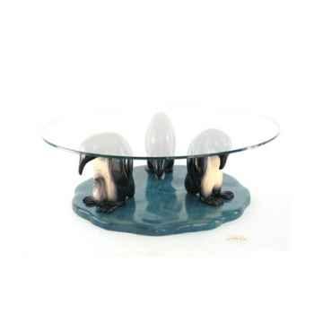 Table basse - Le trio de pingouins en Pin - 100 cm x 40 cm - verre trempé, bord poli ép. 1,2 cm - LAST-MPI085-P - V1000-12