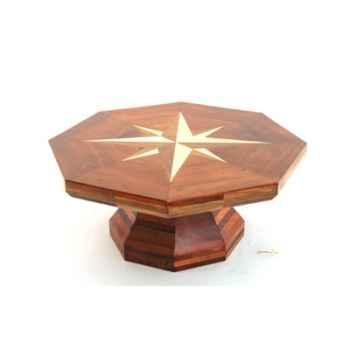 Table basse La rose des vents, plateau hexagonal en bois de Rauli - 90 cm x 40 cm  - LAST-MRO090-R