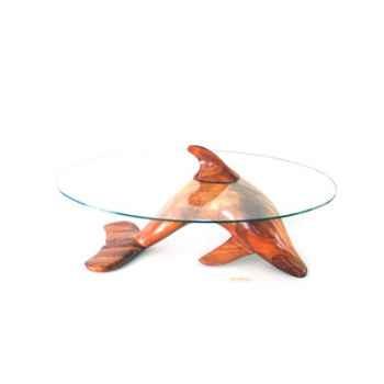 Table basse Le dauphin 95 cm en bois de Rauli - verre trempé, bord poli - LAST-MDA95-R - VI200-600-10