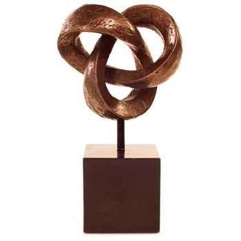Sculpture Trifoil Table Sculpture with Box Pedestal, bronze nouveau -bs1731nb -iro