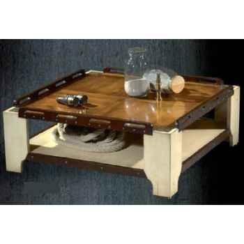 Table basse de 'Pont' grand modèle, sans patine, époque 19ème - 80 x 34 x 80 cm - CA-002