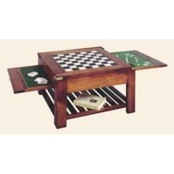 Table basse 'Temps', avec 3 plateaux double face, époque 19ème - 80 x 44 x 80 cm - CO-085pc