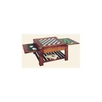 Table basse 'Temps', avec patine, avec 3 plateaux double face, époque 19ème - 80 x 44 x 80 cm - CO-085pc