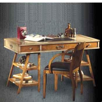 Table de timonier, avec patine, époque 19ème, dessus cuir - 140 x 78 x 70 cm - CO-083