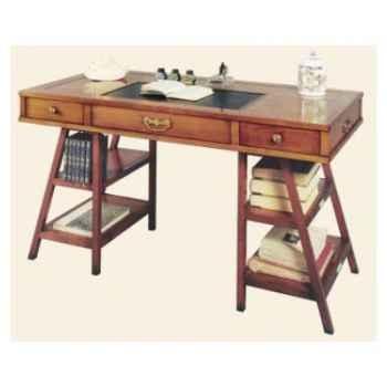 Table de timonier, sans patine, époque 19ème, dessus cuir - 140 x 78 x 70 cm - CO-083