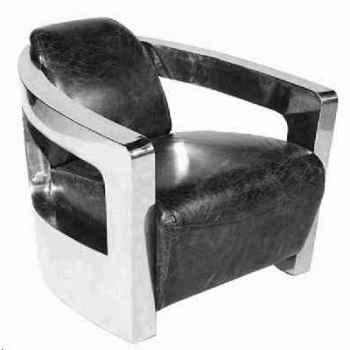 Fauteuil mars en cuir couleur noir avec finition en acier brillant h 700 x 750 x 840 Arteinmotion POL-MAR0011
