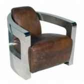 fauteuimars en cuir couleur cigare avec finition en acier brillant h 700 x 750 x 840 arteinmotion pomar0032