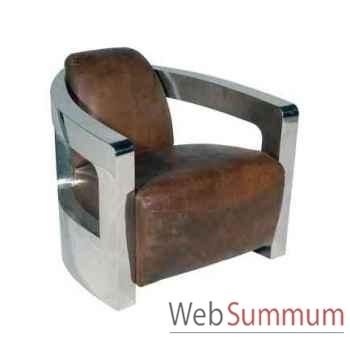 Fauteuil mars en cuir couleur cigare avec finition en acier brillant h 700 x 750 x 840 Arteinmotion POL-MAR0032