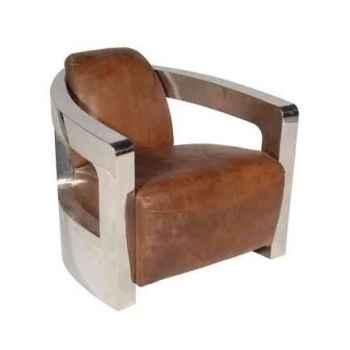 Fauteuil mars en cuir couleur cognac avec finition en acier brillant h 700 x 750 x 840 Arteinmotion POL-MAR0044