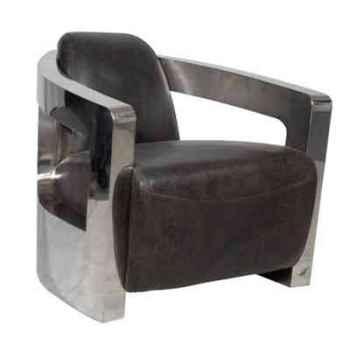 Fauteuil mars en cuir couleur café avec finition en acier brillant h 700 x 750 x 840 Arteinmotion POL-MAR0033