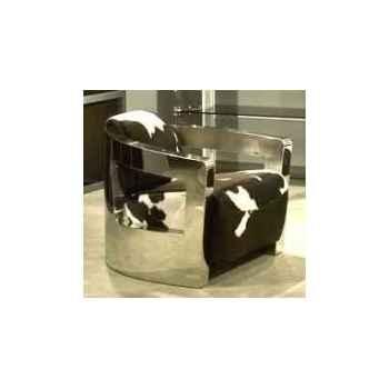 Fauteuil mars en cuir naturel noir et blanc avec finition en acier brillant h 700 x 750 x 840 Arteinmotion POL-MAR0056