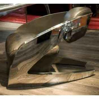 Fauteuil demoni en cuir couleur café avec finition en acier brillant h 750 x 750 x 1000 Arteinmotion POL-DEM0025