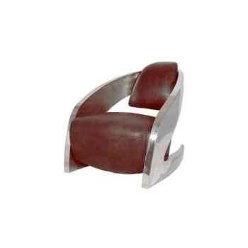 Fauteuil demoni en cuir couleur cigare avec finition en acier brillant h 750 x 750 x 1000 Arteinmotion POL-DEM0036