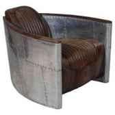fauteuiaviator en cuir couleur whisky avec revetement de la structure en aluminium h 600 x 750 x 930 arteinmotion poavi0062