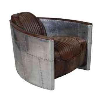 Fauteuil aviator en cuir couleur whisky avec revêtement de la structure en aluminium h 600 x 750 x 930 Arteinmotion POL-AVI0062
