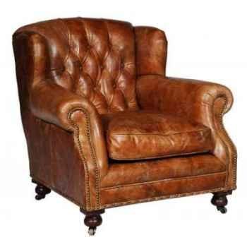 Fauteuil ardingley en cuir couleur cognac h 890 x 920 x 970 Arteinmotion POL-ARD0040