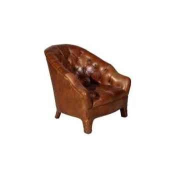 Fauteuil branco en cuir couleur cognac h 740 x 695 x 825 Arteinmotion POL-BRA0057