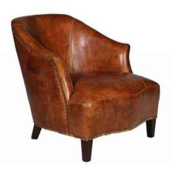 Fauteuil franco en cuir couleur cognac h 740 x 695 x 825 Arteinmotion POL-FRA0043