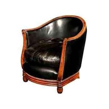 Fauteuil deco en cuir noir h 740 x 670 x 740 Arteinmotion POL-DEC0007
