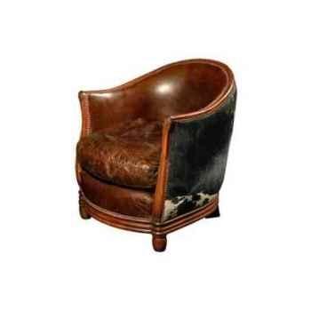 Fauteuil deco en cuir couleur cigare et avec le dossier en cuir naturel blanc et brun h 740 x 670 x 740 Arteinmotion POL-DEC0009