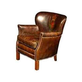 Fauteuil professor en cuir couleur cigare avec decoration h 750 x 680 x 730 Arteinmotion POL-PRO0006