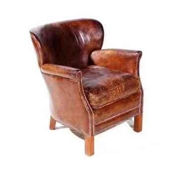 Fauteuil professor en cuir couleur cigare h 750 x 680 x 700 Arteinmotion POL-PRO0017