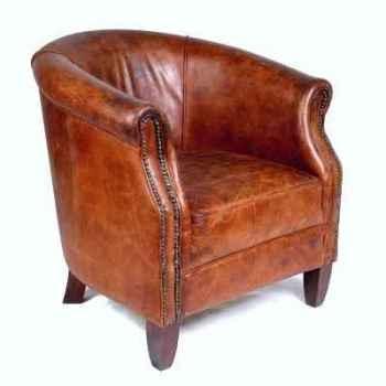 Fauteuil nottingham en cuir couleur cigare h 850 x 730 x 830 Arteinmotion POL-NOT0052