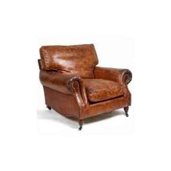 Fauteuil balmoral en cuir couleur cigare h 930 x 1060 x 1050 Arteinmotion POL-BAL0016