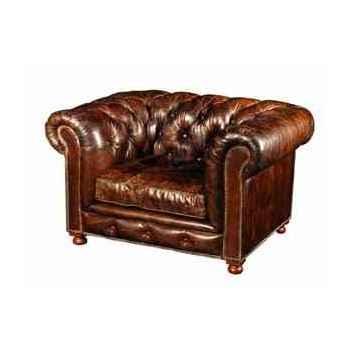 Fauteuil kensington en cuir couleur cigare h 760 x 1250 x 970 Arteinmotion POL-KEN0001