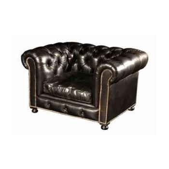 Fauteuil kensington en cuir noir h 760 x 1250 x 970 Arteinmotion POL-KEN0002