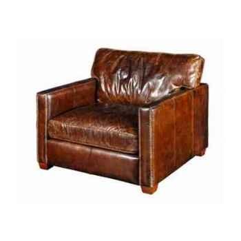 Fauteuil viscount en cuir couleur cigare h 850 x 1000 x 1000 Arteinmotion POL-VIS0004