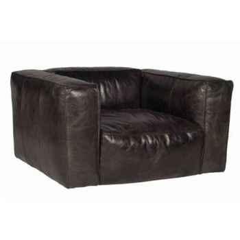 Fauteuil tribeca en cuir couleur café h 670 x 1240 x 1000 Arteinmotion POL-TRI0039