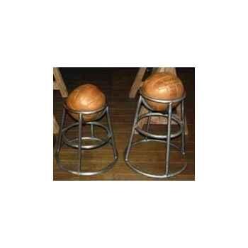 Tabouret pour bar avec balle en cuir couleur cigare h 760 Arteinmotion SED-BAR0014