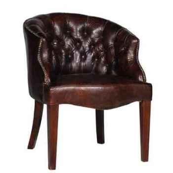 Chaise bosun en cuir couleur cigare h 830 x 660 x 720 Arteinmotion SED-BOS0011