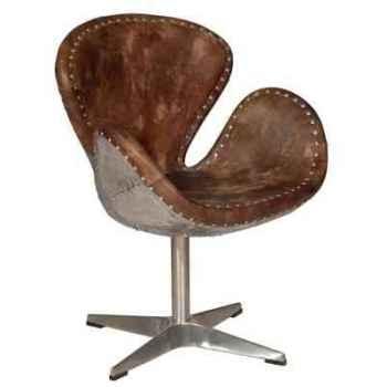 Chaise devon en cuir couleur whisky avec le dossier en acier h 910 x 700 x 590 Arteinmotion SED-DEV0008