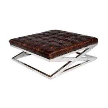 Appuis-pieds san diego en cuir couleur cigare h 450 x 1220 x 1220 Arteinmotion POG-SAN0012