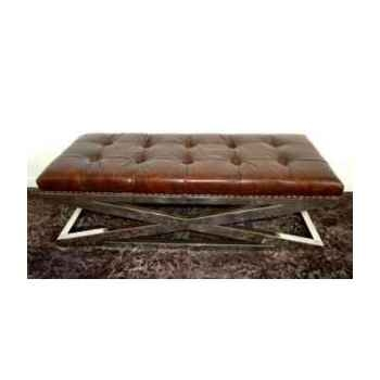 Appuis-pied san diedo en cuir couleur cigare h 450 x 1420 x 570 Arteinmotion POG-SAN0006