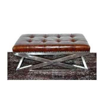 Appuis-pieds san diego en cuir couleur cigare h 450 x 1110 x 570 Arteinmotion POG-SAN0007