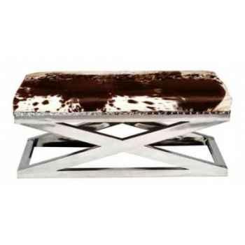Appuis-pieds san francisco en cuir naturel blanc et brun h 450 x 1110 x 570 Arteinmotion POG-SAN0009