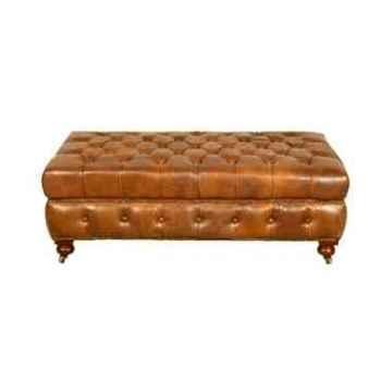 Appuis-pieds bensington en cuir couleur cognac h 440 x 1500 x 900 Arteinmotion POG-BEN0013