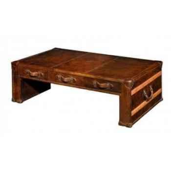 Table basse en cuir couleur cigare h 450 x 1310 x 810 Arteinmotion TAV-DES0005