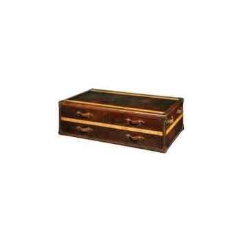 Table basse stonyhurst en cuir couleur cigare avec 3 tiroirs h 450 x 1310 x 810 Arteinmotion TAV-STO0006