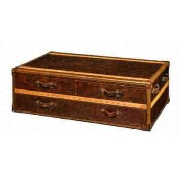 Table basse stonyhurst en cuir couleur cigare avec finition en croco et 3 tiroirs h 450 x 1310 x 810 Arteinmotion TAV-STO0007