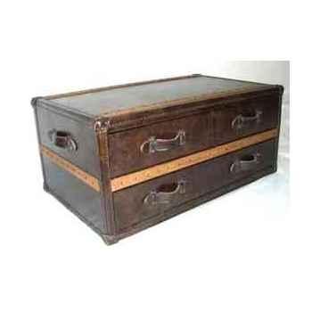 Table basse stonyhurst en cuir couleur cigare h 450 x 1010 x 600 Arteinmotion TAV-STO0012