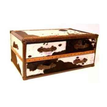 Table basse stonyhurts en cuir naturel blanc et brun avec 3 tiroirs h 450 x 1010 x 600 Arteinmotion TAV-STO0023