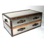 table basse stonyhurst en acier brillant avec 3 tiroirs h 450 x 1010 x 600 arteinmotion tav sto0031