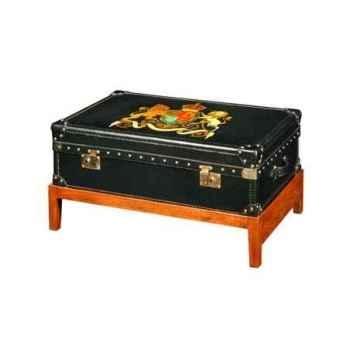 Malle watson en cuir noir avec décoration et support h 480 x 900 x 590 Arteinmotion BAU-W AT0007